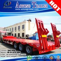 China AOTONG Heavy duty 55 ton 3 axle semi low bed trailer with manual ramps for Philipines on sale