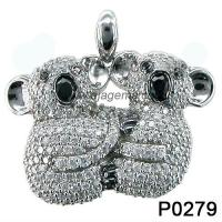 Wholesale Black Sapphire Gemstone Jewelry Pendant , Cute Animal White Topaz Silver Gemstone Jewellery from china suppliers