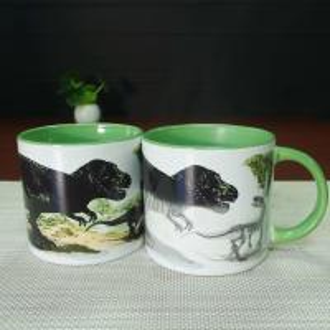 Quality White Porcelain Dinosaurs Interior Glazed 14oz Color Changing Mug for sale