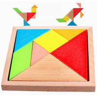 Wholesale Colorful Painted Natural Wooden Toys Funny Tangram Puzzle Toys 140 X 140 X 20 mm from china suppliers