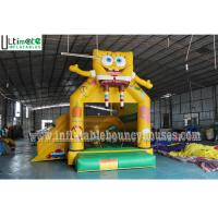 Quality 3 in 1 Kids SpongeBob Inflatable Jumping Castles With Pillar N Hoop Lead Free Material for sale