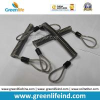 Wholesale Double loops Wire Reinforced Plastic Spiral Lanyard Transparent Black Anti-theft Retainer from china suppliers