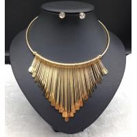 Wholesale Hot Selling Antique European and American Triple Link Bar Tassel Dangle Pendant Bib Necklace Set from china suppliers