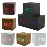 Wholesale Hot USB/AAA Powered Cube LED Digital Alarm Clock Square Modern Sound Control Wood Clock Display Temperature Night Light from china suppliers