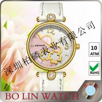 Wholesale White Dial Ladies 18k Solid Gold Watch With Leather Band 5ATM Water Proof from china suppliers
