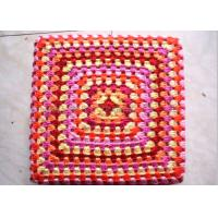 Wholesale Customized Color Crochet Stool Cover / Acrylic Square Crochet Pouf Cover from china suppliers