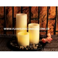 Wholesale Ivory Wax Straight Edge Flameless LED Candles With Rock and Round Plastic Tray from china suppliers