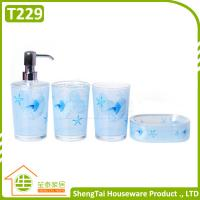 Quality Bright Color Starfish Bathroom Accessories Set Trumpet Shell Plastic Bathroom Sets for sale