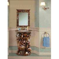 Wholesale European Antique Maple Bathroom Cabinet With Mirror Floor Mounted from china suppliers