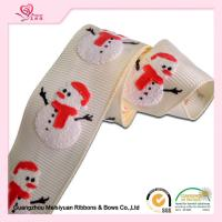"Quality 1"" White Grosgrain Ribbon / White Snowman Polyester Grosgrain Ribbon For Holiday for sale"