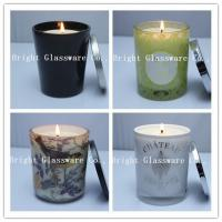 Wholesale Solid Black Glass Candle Holder , Candle Jar With Lid Cover from china suppliers