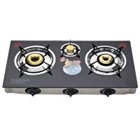 Wholesale Tempered Glass Top 3 Burner Gas Stove , Table Top 3 Burner Gas Cooktop from china suppliers