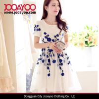 Wholesale Fit and Flare Elegant White and Blue Flower Embroidered Organza Sweety Girls Dress from china suppliers
