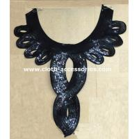 Water Soluable Vintage Black Lace Collar / Sequin Appliques For Costumes