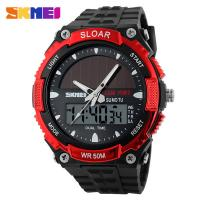 Wholesale Red Mens Digital Watches Depth Waterproof 5 ATM Japan Movement Solar Power from china suppliers