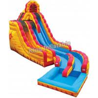 Wholesale 20 Feet Big Yellow / Blue Fire & Ice Wet Dry Inflatable Water Slide For Water Park from china suppliers