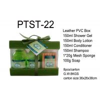 Wholesale Leather PVC Box Bath And Body Gift Sets Shower Gel / Conditioner / Shampoo / Mesh Sponge from china suppliers