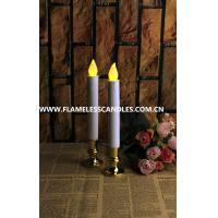 Wholesale Ivory Flickering Flameless Window Candles With Gold / Silver Base , LED Taper Candles from china suppliers