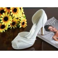 Wholesale China Wedding Shoes / White Ladies Bridal Shoes with Varnished Heel for wedding from china suppliers