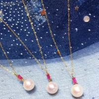 Wholesale Ruby Gemstone Gold Jewelry Pendant Chain Necklace With Freshwater Pearls from china suppliers
