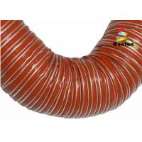 Quality Iron Oxide Red Silicone Coated Fiberglass Fabric High Temperature Flexible Duct for sale