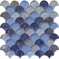 Wholesale Blue blend serie backsplash water waving glass mosaic from china suppliers