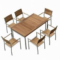 Wholesale Outdoor Dining Table Sets, Rectangle, Extendable with #304 Stainless Steel, Teak Furniture from china suppliers