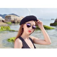 China Printing Technic Winter Custom Personalized Hats , Women White Black Wool Beret Hat on sale