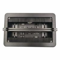 Black Color Conference Table Connectivity Box Double Brush Cover RJ45 Information Outlet