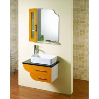 Wholesale Square shape floating bathroom sink cabinets modern with 5mm silvered float mirror from china suppliers