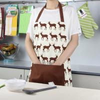 Wholesale Brown Deer Printed Bib Style Home Kitchen Apron 70x80cm or Customized from china suppliers