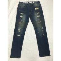 Wholesale 100% Cotton Fabric Mens Slim Straight Cut Jeans Black / Blue Color from china suppliers
