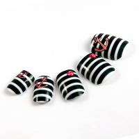 Quality Decorated Nail Art Fake Nails , nail art jewels Pink with Rhinestone for sale