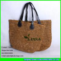 Wholesale LUDA high quality pu  handles beach bag brown raffia crochet straw handbag from china suppliers