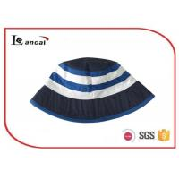 Buy cheap Boys custom printed cheap stripe reversible navy bucket hat for kids from wholesalers