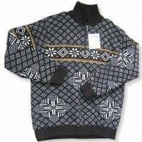 Wholesale Men's Outdoor Sweater, Made of Acrylic, Computer Jacquard Design, Available in Various Sizes from china suppliers