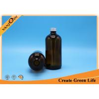 Wholesale 16oz amber glass bottles Boston Round  , Aluminum and Black Plastic Cap from china suppliers
