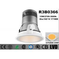 Wholesale Round High Luminous LED Recessed Downlight 15W Thin Trim Aluminum 3000K White COB from china suppliers