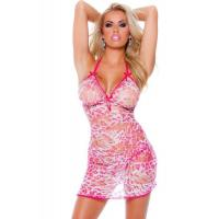 Wholesale Orange / Pink Summer Sheer Leopard Sexy Babydoll Lingerie Costumes from china suppliers