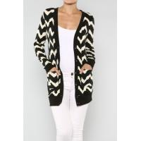Wholesale Customized Zig Zag Open Cardigan Womens Knit Sweaters With Chevron Printed from china suppliers