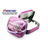 Wholesale Grape Sweets Metal Tin Box Candy With Color Crystal Flavor Round Shape from china suppliers