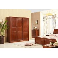 Wholesale Modern Dark Red Three Sliding Door Wardrobes Corrosion Resistant from china suppliers