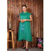 China Casual Life Green Embroidered Cotton Dress Chinese Style For Intdoor Eco Friendly for sale