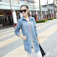 Wholesale Skinny Stretch Light Blue Womens Jean Jackets Damaged Broken Holes Dark Wash from china suppliers