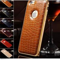 Buy cheap Crocodile Leather Back Case Metal Bumper Frame Cover For Apple iphone 6 6 Plus from wholesalers