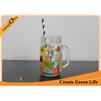 Wholesale Colored Logo Decaling 12 oz Kilner Glass Mason Jar with Handle / Straw from china suppliers