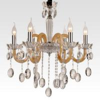 Wholesale Funky Contemporary Crystal Chandelier Lamps 6 heads with Fabric or Laces Shades for Bedroom from china suppliers