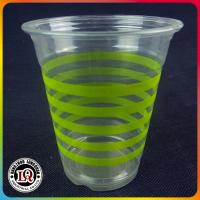 Wholesale 12oz Disposable PET Plastic Cup with Green Horizontal Stripes from china suppliers