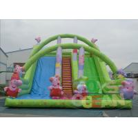 Wholesale Outdoor Double Huge Inflatable Slides For Rental Green Waterproof from china suppliers