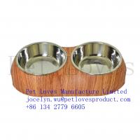 Wholesale Classic Design Two Sections Melamine Feeder Pet Bowl Cat Food Bowl Full Color Printing Det Bowl from china suppliers